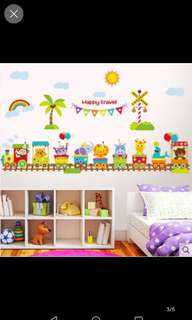 ☑️ In Stock Kindergarten Children Room Boy Bedroom Decorative Wall Stickers Removable Animal Train Wall Stickers Cute Cartoon Home decor