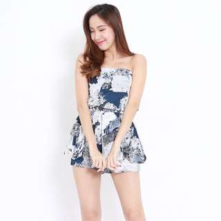 [PO] Abstract Leaves Tube Romper