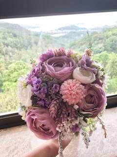 紫系 絲花花球 pre-wedding用 結婚用一流