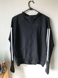 Black adidas jacket white stripes