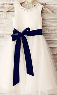Flower Girl Dress with blue ribbon