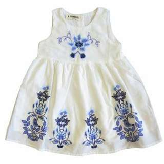White Embroidered Girl's Dress 550