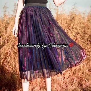 Luna Metallic Pleated Midi Skirt (Magenta)