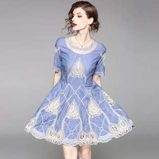 Blue embroidered pure cotton dress