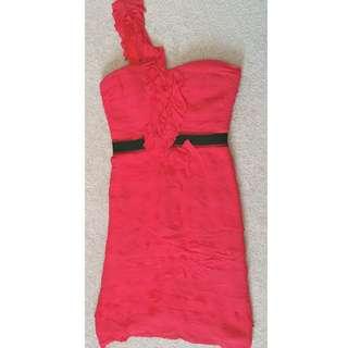 BCBG MAXAZRIA Azalea Red Tiered Ruffled One-Shoulder Cocktail Prom Dress Size 2
