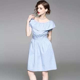 Light blue flounced pure cotton dress