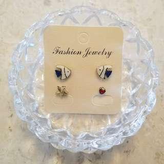 藍色熱帶魚耳環(四隻)