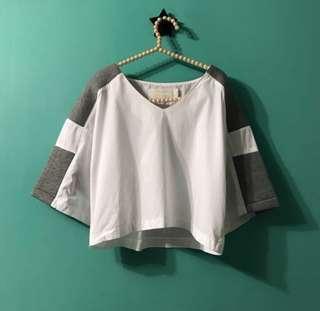 Cropped white tee stylenanda Korea 3CE Aland白色短top