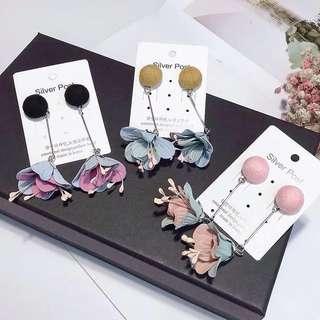Flower art floral earrings