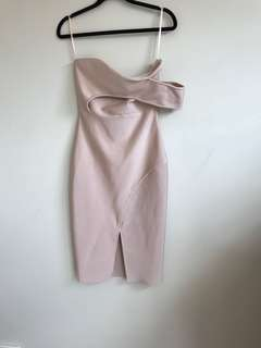 Blush one shoulder bodycon dress