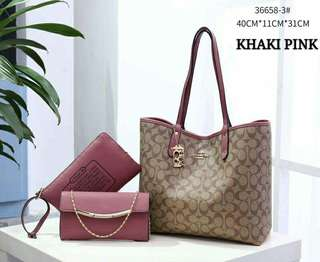 Coach Tote Bag 3 in 1 Khaki Pink Color