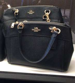 100% Authentic Coach Leather Small Carryall - Black