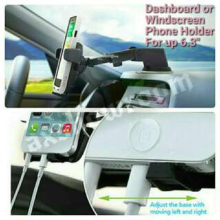 Dashboard or Windscreen Versatile Strong Suction Phone Holder With Adjustable Extendable Arm For Flexible Placement.