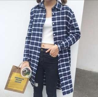 🚚 全新❤韓版藍色格子長版襯衫