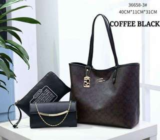 Coach Tote Bag 3 in 1 Coffee Black Color