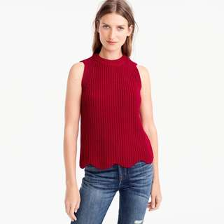J.Crew Retail Women Red Scalloped Knit Sweater Shell Vest Size Small