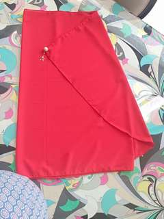 Fiery Red Georgette Tudung