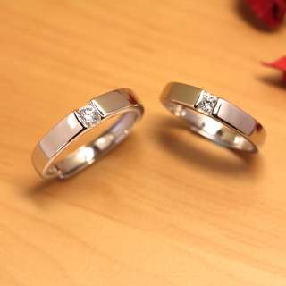 [READY STOCK][FREE SIZE] WB Simple tension set single diamond couple ring, wedding band, Silver, WB002