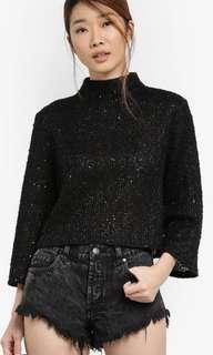 Flare Sleeve Black Boxy Sweater Zalora