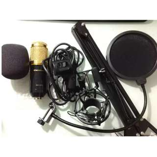 Mic condenser excelvan bm800 + stand arm + pop filter