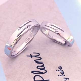 [READY STOCK][FREE SIZE] Tigarpaws Arrow flush set diamond wedding band, silver, WB003