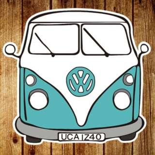 Volkswagen Retro Car Sticker Gloss Waterproof