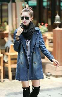 Denim Double Breasted Coat 090510