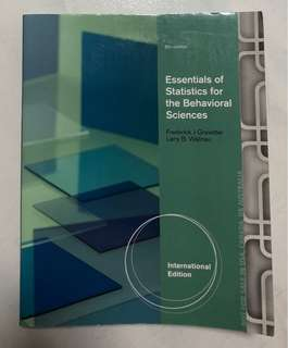 Essentials of Statistics for the Behavioural Sciences
