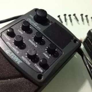 Preamp gitar akustik g-tone gtone gt-3 + saddle TUSQ
