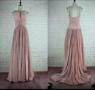 Pink Evening Gown with slight tail