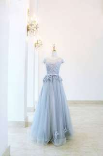 Blue Wedding gown with A line