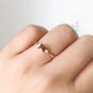 純銀鍍金石榴石淡水珍珠戒指
