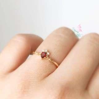純銀鍍金石榴石鋯石戒指