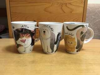 English Fine Bone China Mugs with Cute Cats x 3 英式超輕貓貓茶杯一套三隻