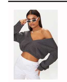Grey crop jumper off shoulder
