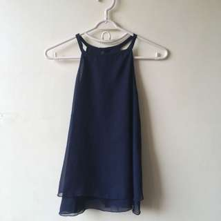 Navy blue chiffon halter top