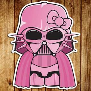 Hello Kitty Pink Darth Vader Star Wars Sticker Gloss Waterproof