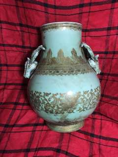 Qing dynasty Cheun Long Mark celaron vase with 2 deer hooks 36cm high . Authentic n beautiful vase . Price negotiable.