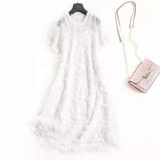 氣質木耳邊透視網紗洋裝