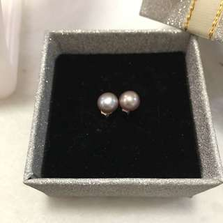 天然淡水珍珠925純銀銀黑色耳環