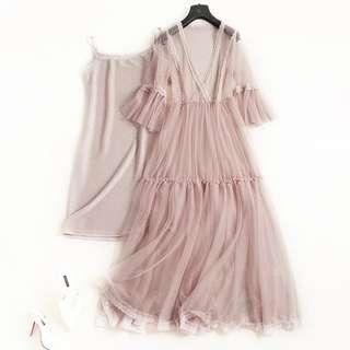 名媛高腰喇叭袖透視洋裝