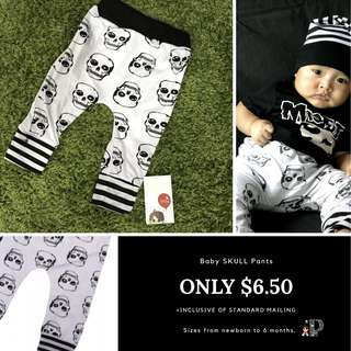 Baby skull pants newborn to 6months