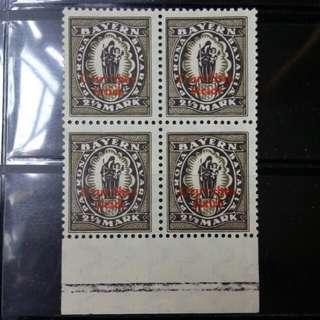 [lapyip1230] 德意志帝國-巴伐利亞大公國 1920年 回歸德國加蓋票 新票四方連 MNH