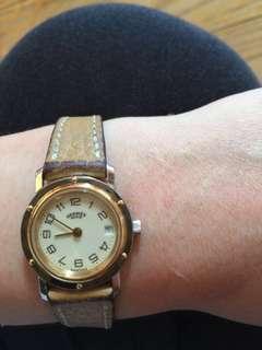 正貨 Hermes watch 14K gold 金 手錶 配原裝錶帶