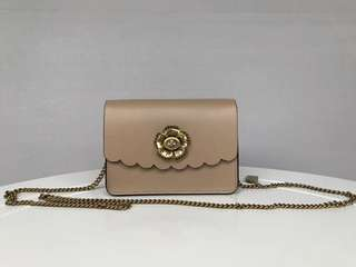 Coach Bowery Crossbody with Tea Rose Turnlock - beige brown
