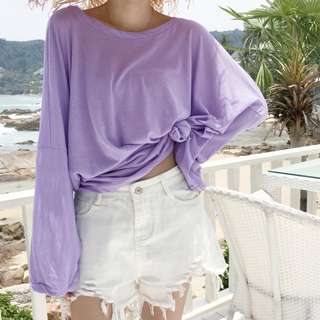 Thin Long Wide Sleeves Oversized Top Ulzzang