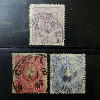 [lapyip1230] 德意志帝國 1887年 帝國徽紋 全份 VFU
