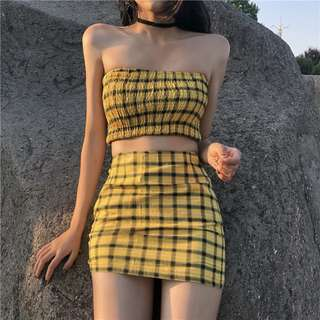 Plaid Off Shoulder Wrap Top with Tight Mini Skirt