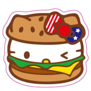 Hello Kitty Cheese Burger Sticker Gloss Waterproof