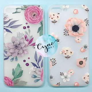 iPhone Floral Embossed Soft Full Cover Cases